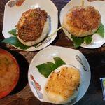 レストランひぐらし - 炭火焼おにぎり 各420円 甘夏みそ・ふきみそ・山椒醤油