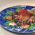 鮮魚二種のカルパッチョ 大葉と生姜で香ばしく