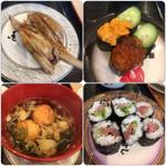 魚魚丸 - 料理写真:煮穴子・ウニとイクラ・ブリ(だったかな)鉄火・明石焼き