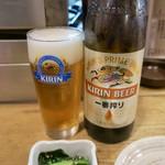 味処 陣屋 - 瓶ビール(大瓶)620円、お通し(ほうれん草ゴマ和え)200円