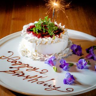 【誕生日や記念日】メッセージ付きデザートプレートをサービス♪