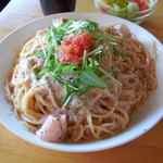 モリヤ - ...「ISONO家のスパゲティー(1250円)」+「大盛り(200円)」、クリームソースとピリ辛の明太子の絶妙な味わい。。