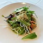 102794332 - グリーンサラダには、甘酸っぱいバルサミコビネガーのドレッシングと粉チーズがパラリ
