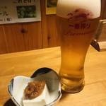 日本酒 炭火焼き ちどり - 料理写真:お通しとビール