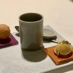 SCALAE - アミューズ(安納芋、黒キャベツのスープ、チーズイン揚げパン)