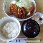 秀膳 - 料理写真:ロースカツ定食(ご飯半分で注文)