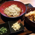 しゃぶ蕎麦 小次郎 - 小次郎ランチ(天丼、冷蕎麦大盛り)