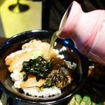 米と葡萄 by SHINGEN - 八女茶とカツオ出汁をブレンドしたハイブリッドなお茶漬けスタイルでも楽しめます。
