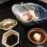 日本料理 会席小久保 - まぐろ、太刀魚、鯛のお造り