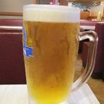 みな豚 - 生ビール・大ジョッキ 700円 ⇒ 350円(以下 税別)、平日の 17:30 ~ 19:00 は、生ビールが半額になります。 2杯を頂きました。      2019.02.27