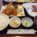 とんかつとん喜 - 刺身付きA定食 1,200円