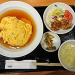 中国酒家 朝陽閣 - 天津飯と唐揚げ定食