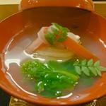 102983493 - ◎蛤の吸い物 雲丹玉子豆腐