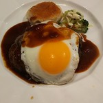 七二八苑 - デミグラスハンバーグステーキ 1,000円 ライス、スープ、サラダ付き