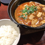102994512 - 甘め麻婆豆腐、ライスがジャスミン米なのがいい