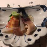 よし川 新別館 - 車海老とホッキ貝と分葱のヌタ