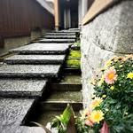 喫茶ニューポピー - 石畳みの階段の脇には水路