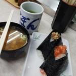 103063443 - 豆腐汁、おにぎりは、から揚げとイカ明太子。