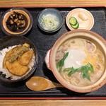 奥京 - 本日のランチ ゆず塩なべやきうどんどミニ天丼
