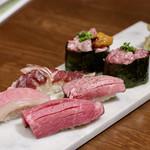名古屋 名駅 肉寿司 - 肉とろ3種盛り&牛3種盛り