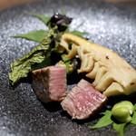 神戸牛と蟹割烹 宮坂 - 神戸ビーフヘレ肉の備長炭焼き 筍 空豆
