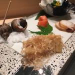 103134762 - たけのこ土佐煮  タコ  明太子  バイ貝  菜の花カラスミ