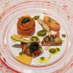 レストラン コバヤシ - 2019.3 ブルターニュ産オマール海老の冷製 トマトピュレとコライユソースとアイヨリソース