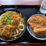 上野製麺所 - カレーうどん(中)&チキンカツ