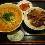 103200185 - 焼肉 丸萬 韓国ラーメン ミニハラミ丼セット (三宮)