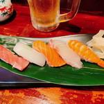 おつまみ酒場 蓮華 - 「寿司せんべろ」の「にぎり5貫」