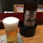 北新地 鮨 なか川 - 瓶ビール アサヒスーパードライ