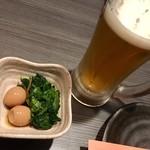 地鶏・和食 個室居酒屋 鶏彩 - お通しとドライ生
