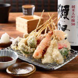 外はサクっと中はふわっと串天ぷらに感動!自慢の逸品です。