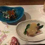 の里 竜土町 - ホタルイカ〇、ほうれん草マスカルポーネ(ちょっとボケた味)