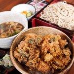 割烹処 和享 - かきあげ丼 + ブタ肉汁セイロ