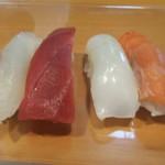 寿司辰 - 料理写真:並 にぎり(1150円) サーモン  イカ  マグロ  タイ