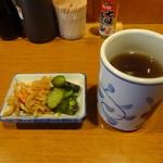 いわさき - カツ丼に付く2品とほうじ茶