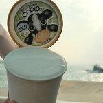 牛窓ジェラート工房 コピオ - ミルク味のカップアイス@前島フェリー乗り場前観光センター
