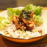 nori蔵 - 料理写真:若鶏の唐揚げのせ明太子ごはん