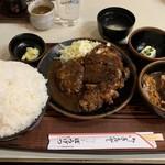 ぼうげつ - ミックスメニュー(ハンバーグ、トンカツ、グリルチキン)ご飯特盛(1550円)