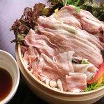 小湘亭 - 藤沢のブランド豚、「みやじ豚」の「蒸ししゃぶ」 自家製ポンズで