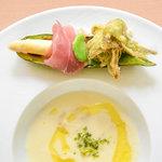 ラ・カロッツァ - 料理写真:ホワイトアスパラガスのブルーテとイタリアンプロシュート