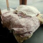 丸亀製麺 - 電気毛布の下で生地を寝かせ中