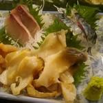 魚がし寿司 - (右上から時計回りに)トロ鯖、ホッキ貝、ツブ貝、アカ貝、カンパチ