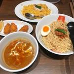 麺屋虎杖 - カキフライカレー担々麺つけ麺 ターメリックピラフ(蒸し鶏)セット