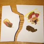 神楽坂あかべえ襷 - オードブル ~ササミのミ・キュイ 和風タプナード トリュフの香り~と~レバーペースト ミニトースト添え~