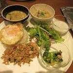マンゴツリーカフェ - 続いてメインのプレートが運ばれて来ました。  タイ料理の代表的なメニューを一度に食べられる欲張りなプレートです。