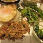 マンゴツリーカフェ - 御飯はジャスミンライスの上に揚げ玉子のカイダオが乗ってます。  その下にはこちらもタイ料理の定番の鶏肉を使ったガパオガイが盛られてました。