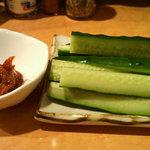 赤星 - キュウリと特製唐辛子味噌 @350円
