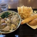 丸亀製麺 - あさりうどん、野菜かきあげ、ジャンボカニカマ、いなり